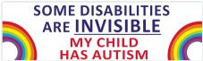 Some Disabilities Are Invisible My Child Has  Autism  Car Van Sticker Waterproof Decal  Rainbow